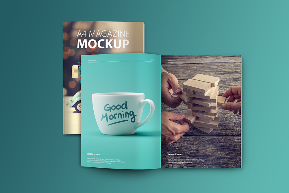 A4 Magazine Mockup Free PSD