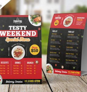 Restaurant Table Tent Menu PSD Template