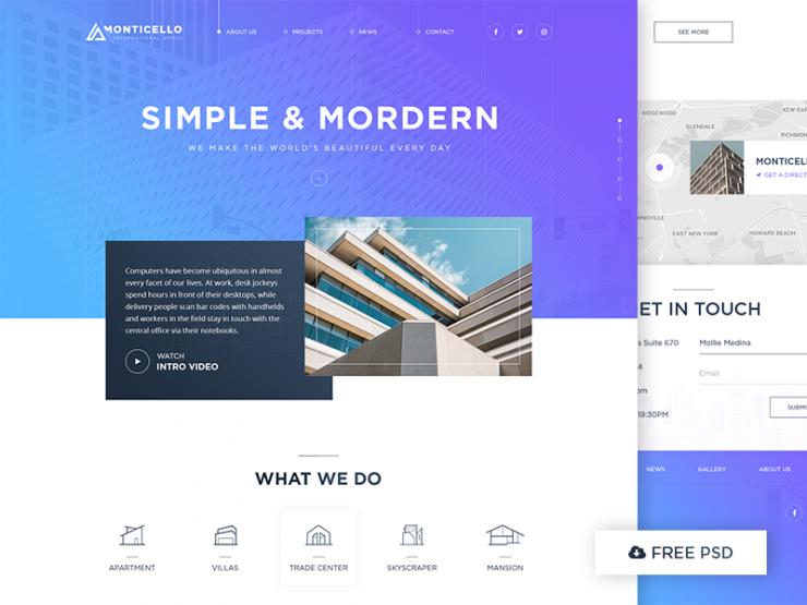 Modern Architecture Website Template Free PSD