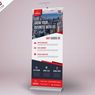 Corporate Advertisement Roll-Up Banner PSD Template