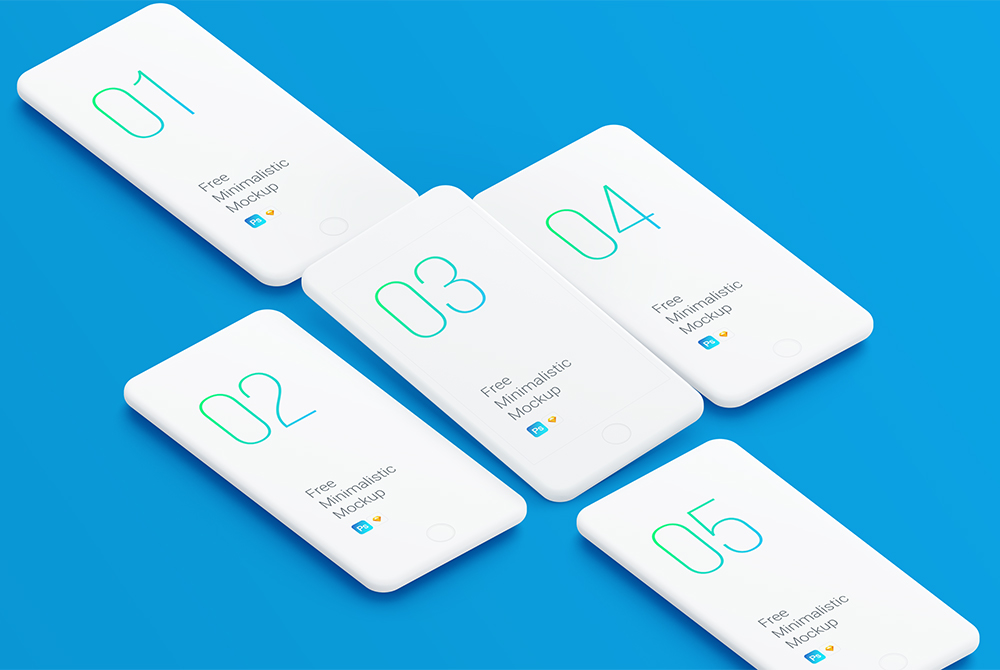 Minimalistic White IPhone Mockup Free PSD