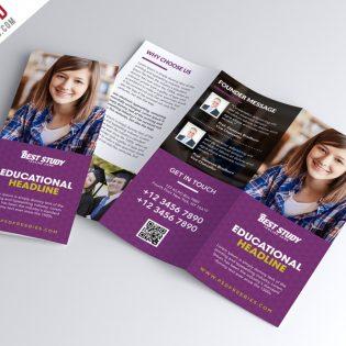 University College Trifold Brochure PSD Template