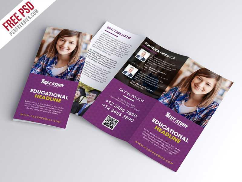 University college trifold brochure psd template for College brochure templates free download