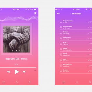 Music Player App Screen UI Free PSD