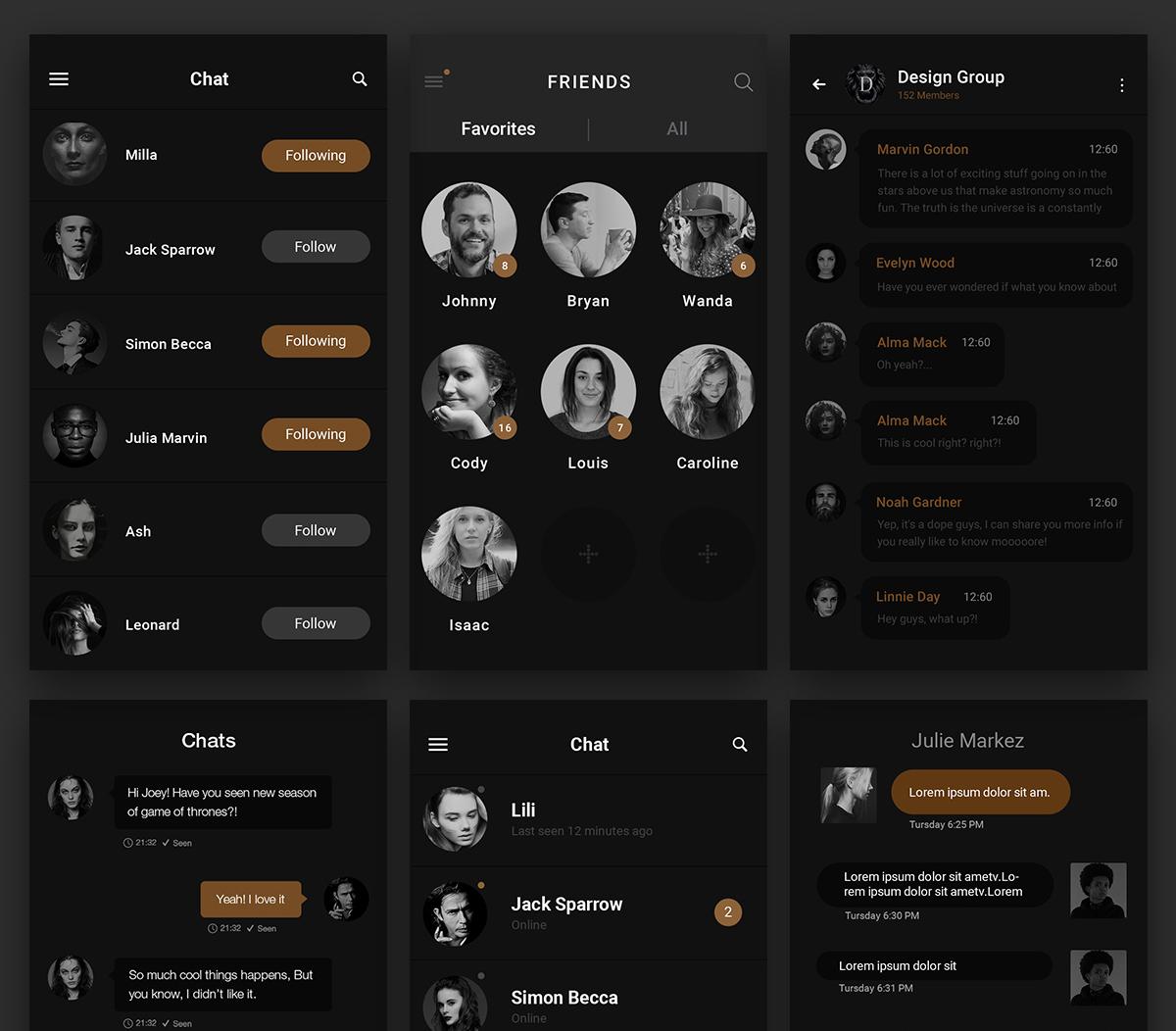 Dark Chat Messenger UI Free PSD