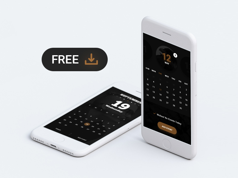 Dark Calendar App UI Free PSD