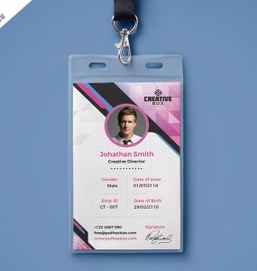 Download free modern id card psd download psd for Teacher id card template