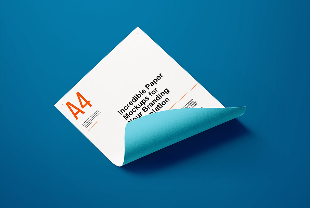 A4 Curled Paper Mockup PSD