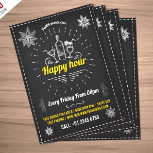 Happy Hour Party Invitation Flyer Free PSD