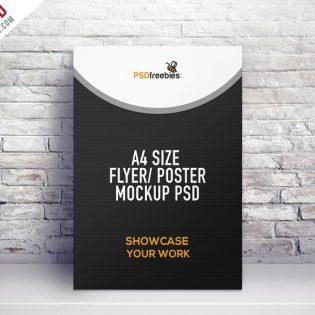 A4 Size Flyer Poster Mockup PSD