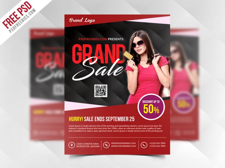 Grand Sale Flyer Template Free PSD women fashion, Woman, winter sale, Template, summer sale, style and fashion, Store, Special Offer, single, Showcase, Shop, season sale, sales, sale flyer, sale begin, Sale, retail, Red, purpose, PSD, promotions, Promotion, promote, Product, print ready, Print, presentation Flyer, Poster, Photoshop, pamphlet, Multipurpose, multi-purpose, Modern, metro design, mega fashion Sale, marketing, magazine ad, item, Graphic, grand sale, Fresh, Freebie, Free PSD, Free, Flyer, fashion sale, Fashion, Event, display, Discount, deal, Colorful, Cloths, clearence sale, campaign, Buy, business flyer, big sells, big sale, Advertising, advertisement, advertise, ad poster, ad,