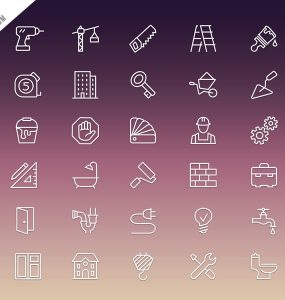 Construction Icons Set Free PSD