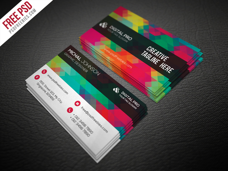 Creative Multicolor Business Card Template Free PSD Download - Business card psd template download