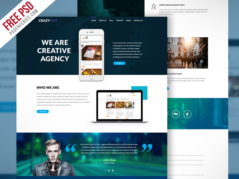 Creative agency website template free psd download download psd creative agency website template free psd friedricerecipe Images