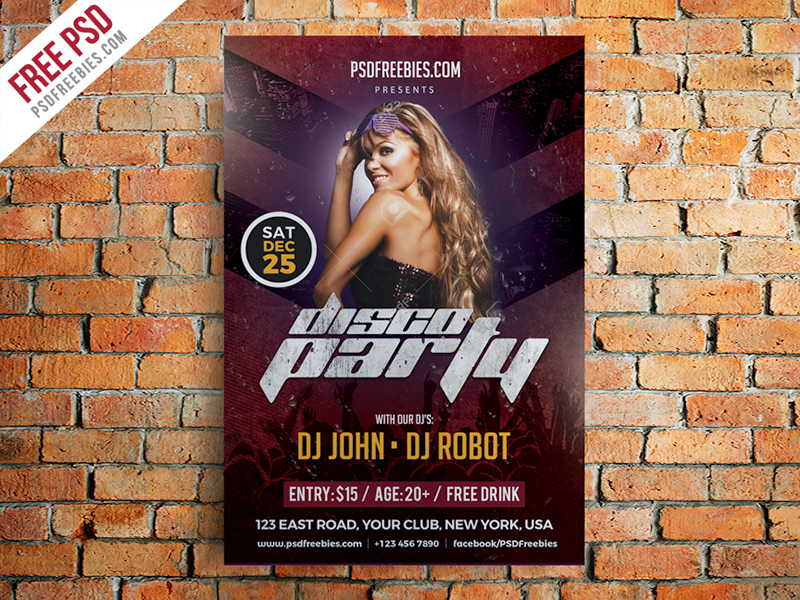 Disco Party Poster Flyer Template Free Psd Download  Download Psd