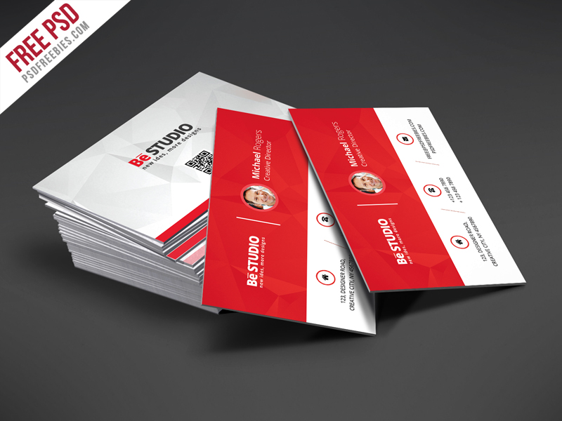 Creative Red Business Card Free PSD Template