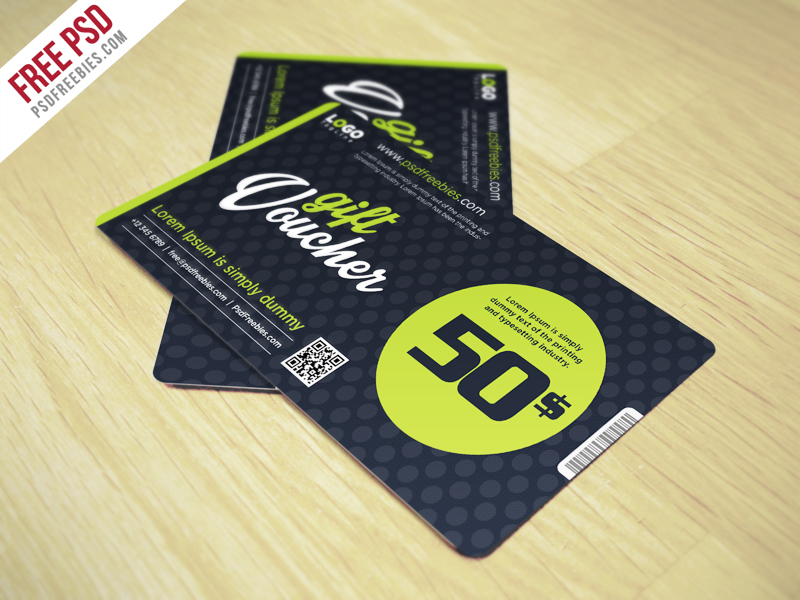 Gift Voucher Coupon Card PSD Freebie