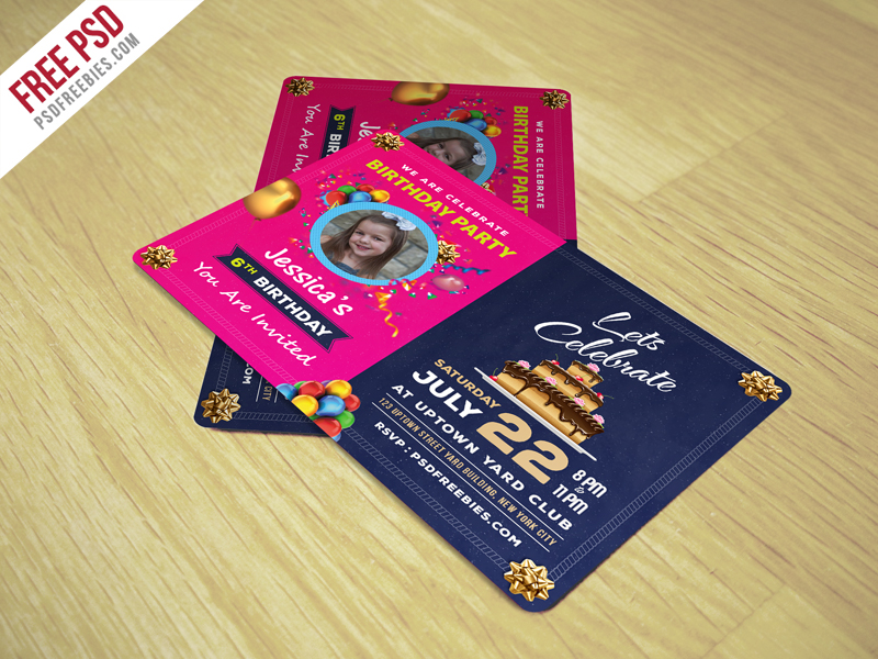 Birthday Invitation Card Template Free PSD Variation, Typographic,  Template, Print, Preschool,  Free Invitation Download