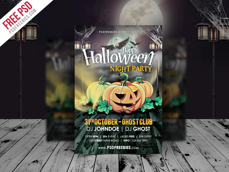 Halloween Night Party Flyer Template Free Psd Download  Download Psd