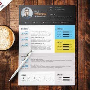 Elegant Modern CV Resume Free PSD