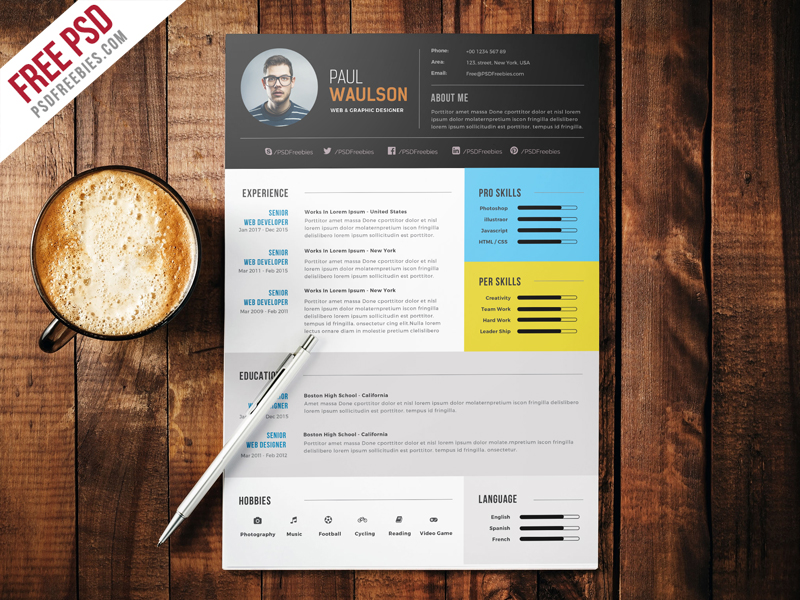 Elegant modern cv resume free psd download download psd elegant modern cv resume free psd printresume templates download psd yelopaper Gallery