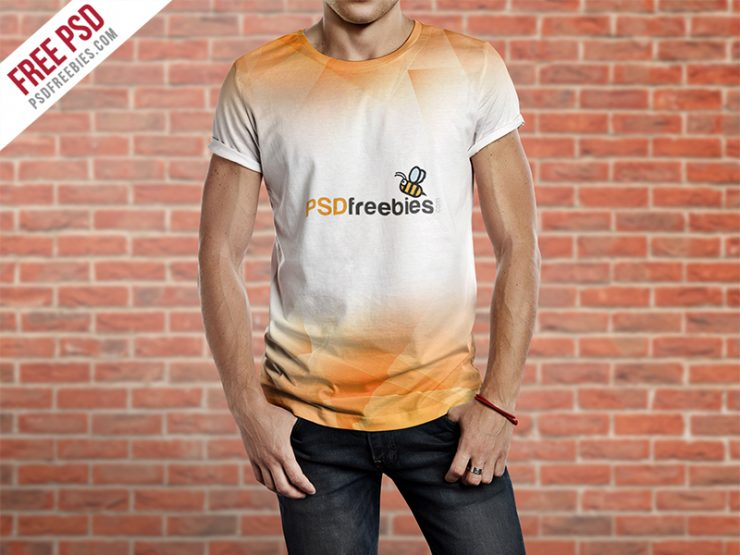 Men T-Shirt Mockup Free PSD