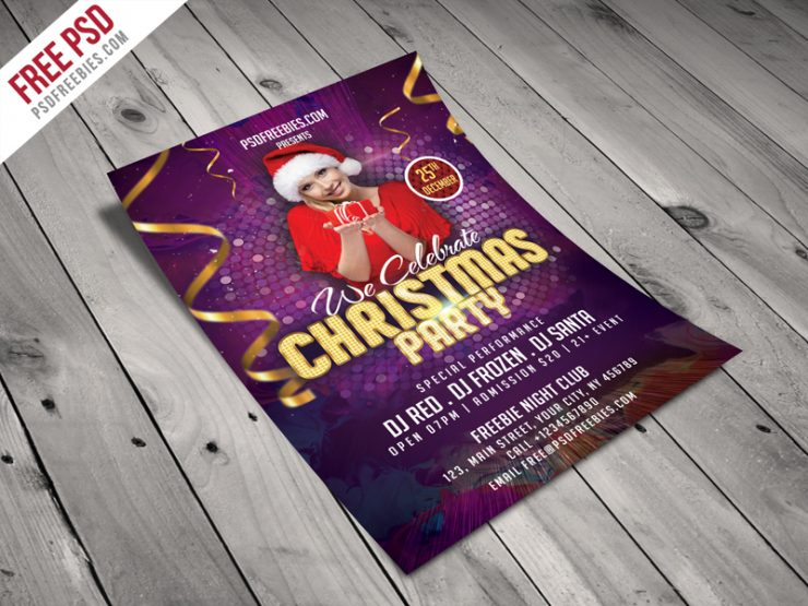 Christmas Night Party Flyer Template Free PSD