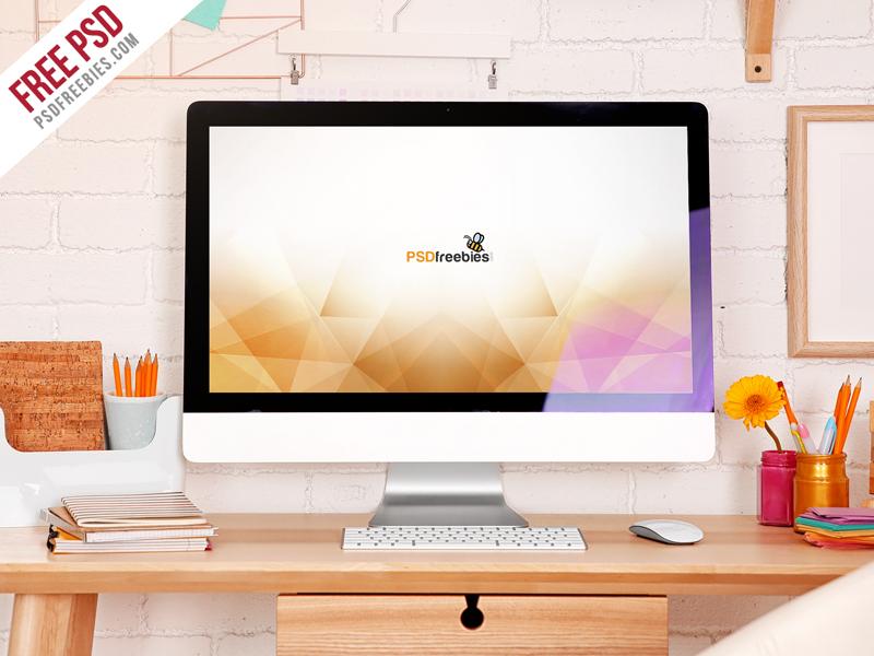 iMac Desktop Workspace Mockup Free PSD