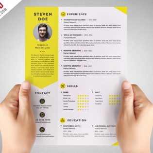 Clean Resume CV Template Free PSD