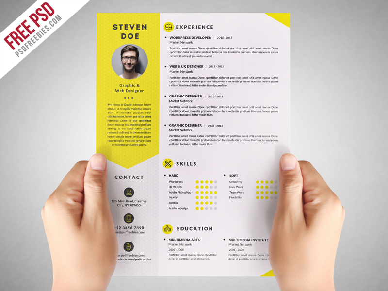 clean resume cv template free psd download download psd