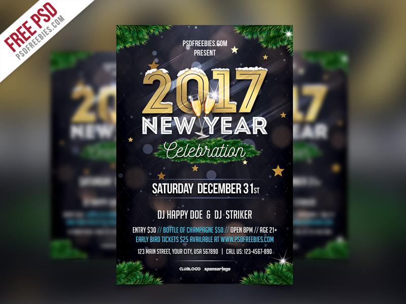 New Year Party Invitation Flyer Template Psd Download  Download Psd