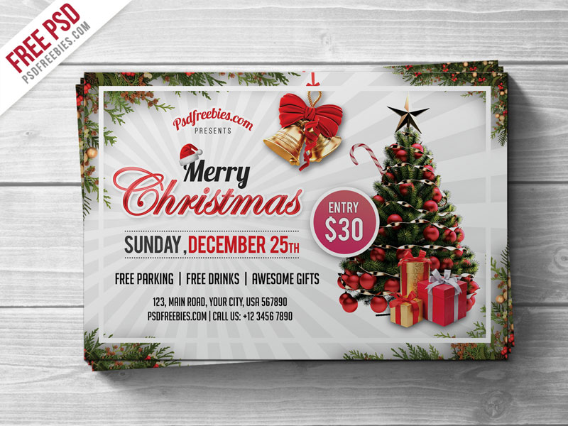 Merry christmas party flyer psd template download download psd for Christmas flyers psd