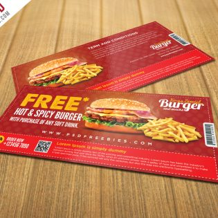 Free Burger Coupon Card Template PSD