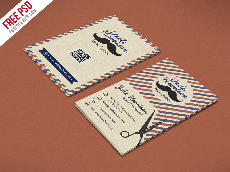 Retro barber shop business card psd template download psd retro barber shop business card psd template reheart Gallery