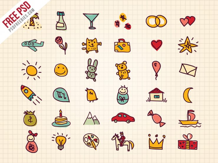 Greetings Doodles Hand Drawn Iconset PSD