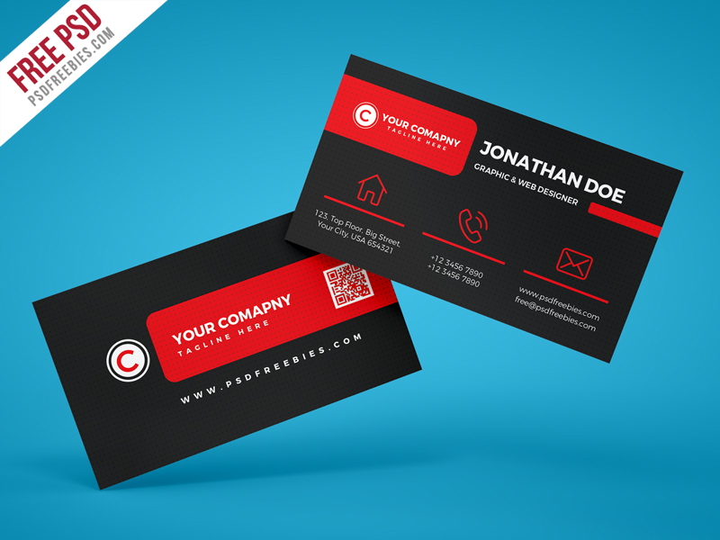 Black Corporate Business Card PSD Template Download Download PSD - Business card psd template download