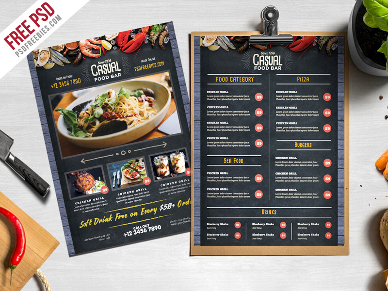 Chalkboard style food menu psd template download download psd for Restaurant menu psd