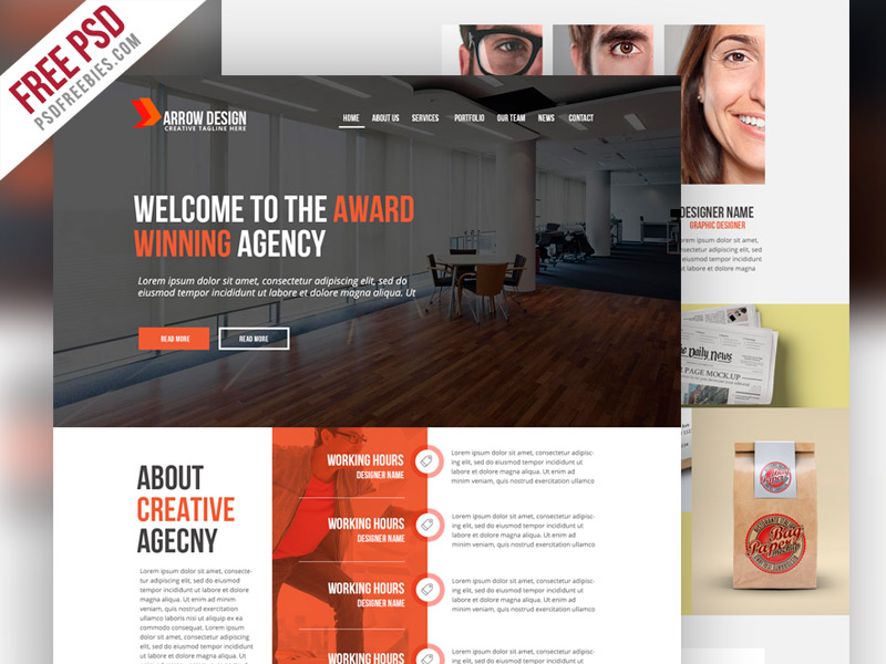 Clean and Creative Agency Website PSD Template