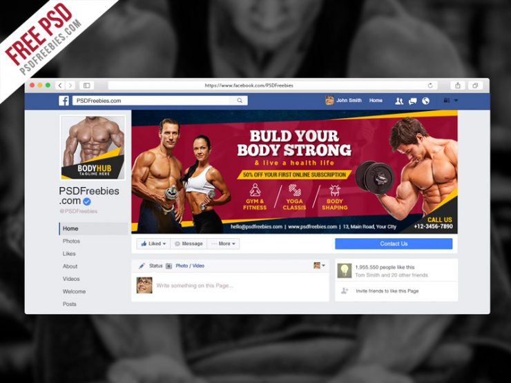Fitness Gym Facebook Fanpage Cover PSD Template