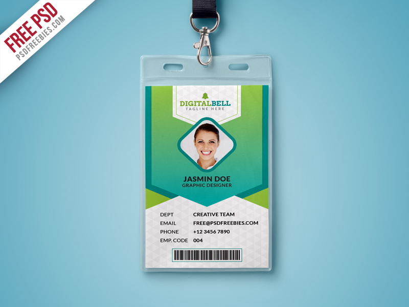 Multipurpose photo identity card template psd download for School id badge template