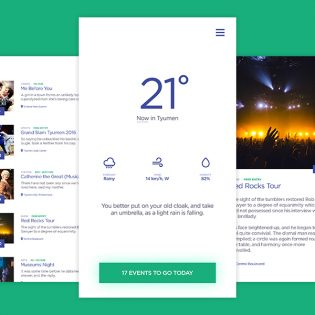 Clean Weather and Event App Free PSD