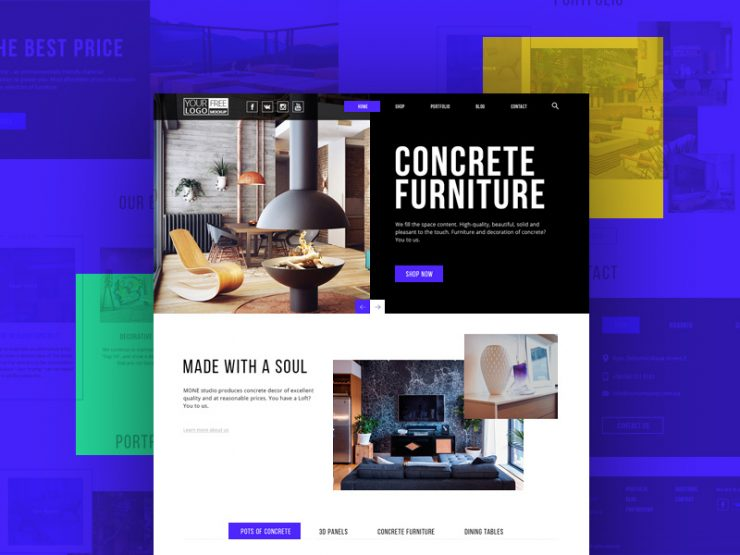 modern furniture store template free psd