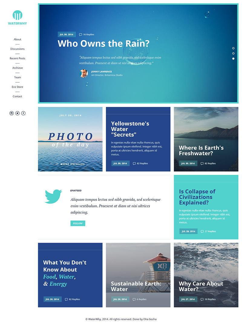 Environmental NGO website template Free PSD