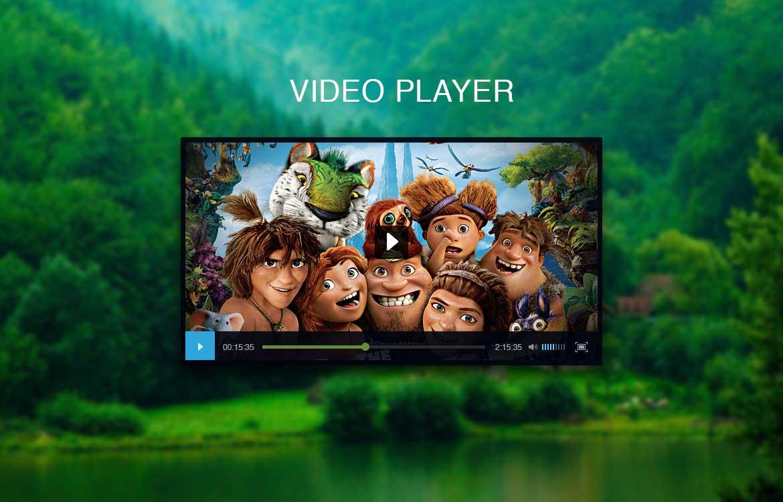 Black Video Player UI Free PSD