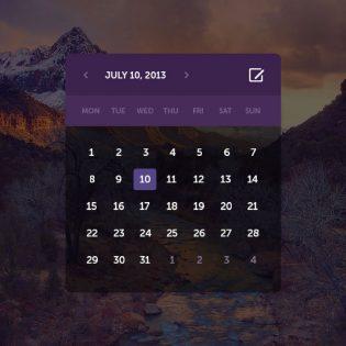 Transparent Calendar Dark UI Free PSD