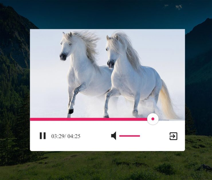 White Video Player UI Free PSD