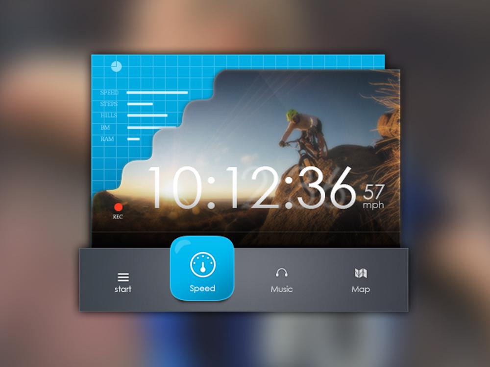 Speed Tracker UI Widget Free PSD