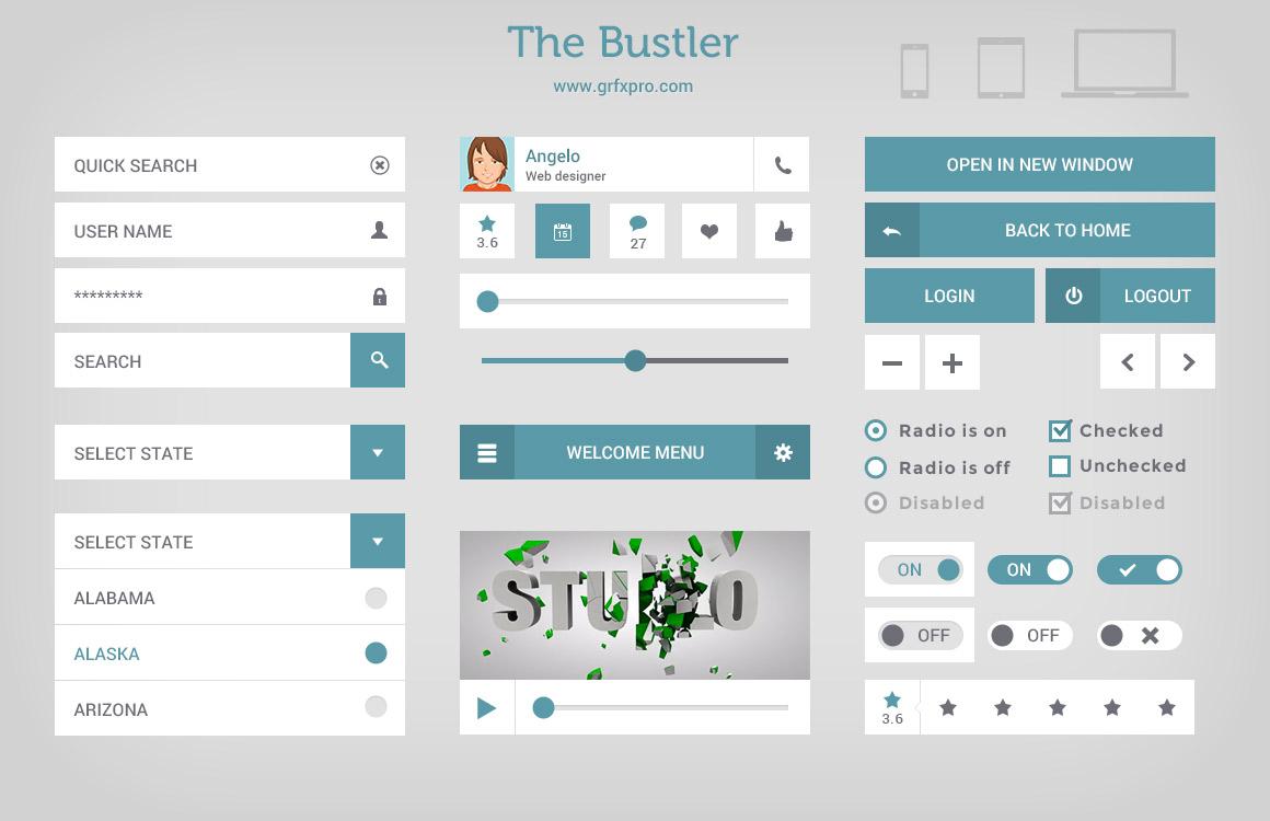 The Bustler UI Kit Free PSD
