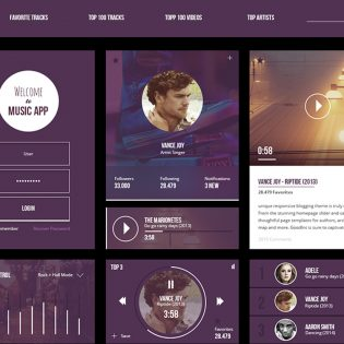 Music App UI Kit Free PSD