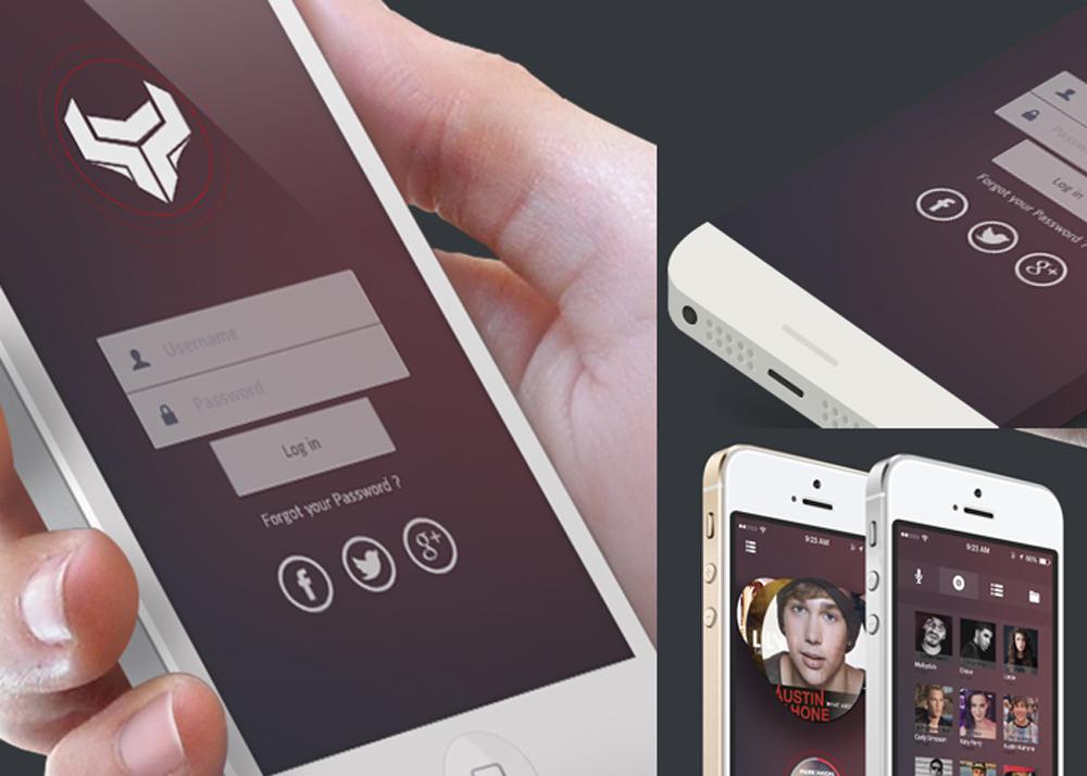 Music app ios7 UI Kit Free PSD